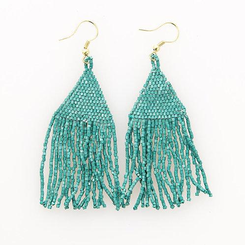 Teal Luxe Petite Fringe Earrings