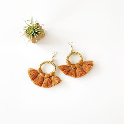 Rattan and Fringe Earrings - Copper