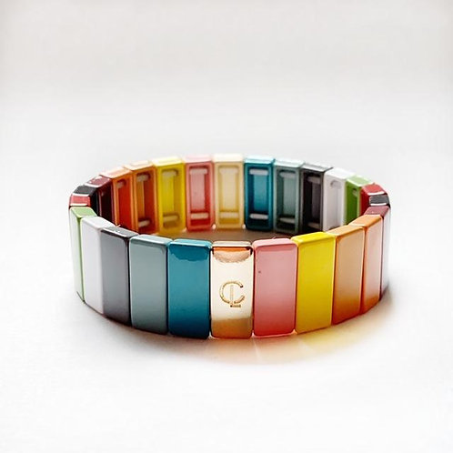 Tile Bracelet- Fall Rainbow Large
