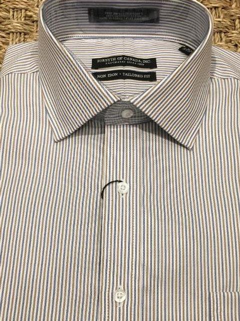 Forsyth of Canada Mens Wrinkle Free Dress Shirt-Mocha/Blue Stripe