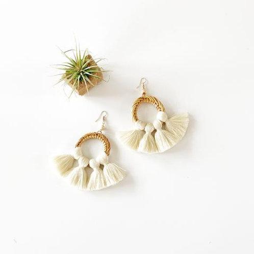 Rattan and Fringe Earrings - Cream