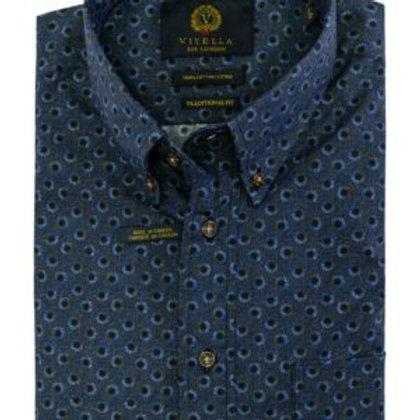 Viyella 100% Cotton Geometric Sport Shirt-Navy