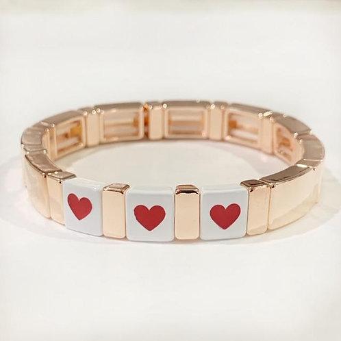 Word Tile Bracelet- Rose Gold Triple Heart