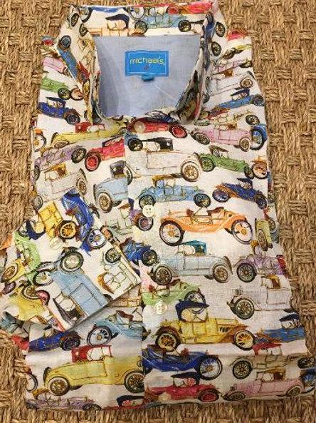 Michael's Antique Car Long Sleeve Linen Sportshirt