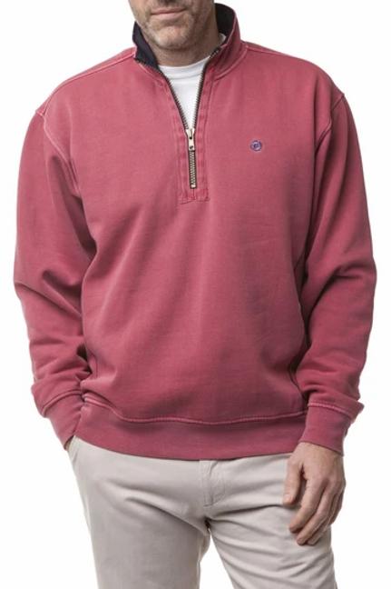 Castaway  Breakwater 1/4 Zip Sweatshirt- Weathered Red