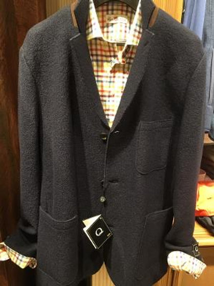 Q By Flynt Boiled Wool Gollum Jacket in Navy Blue