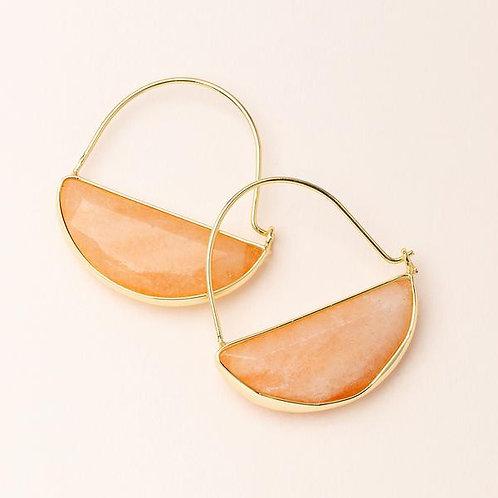 Stone Prism Hoop Earring - Sunstone/Gold