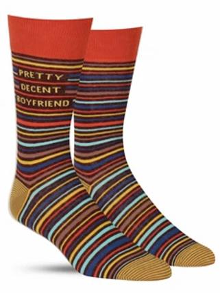 Blue Q Men's Crew Socks-Pretty Decent Boyfriend Socks
