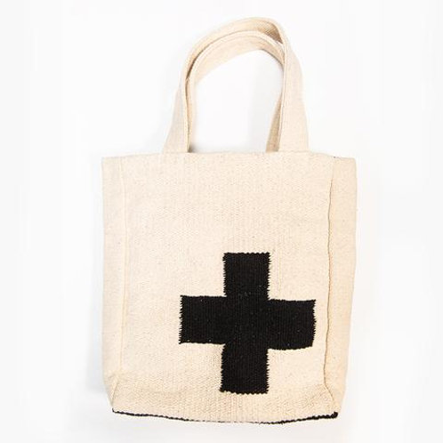 medium cross dhurrie tote bag