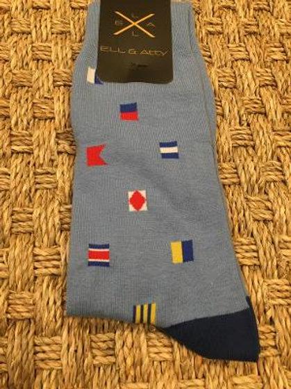 ELL & ATTY Mens Nautical Flag Socks