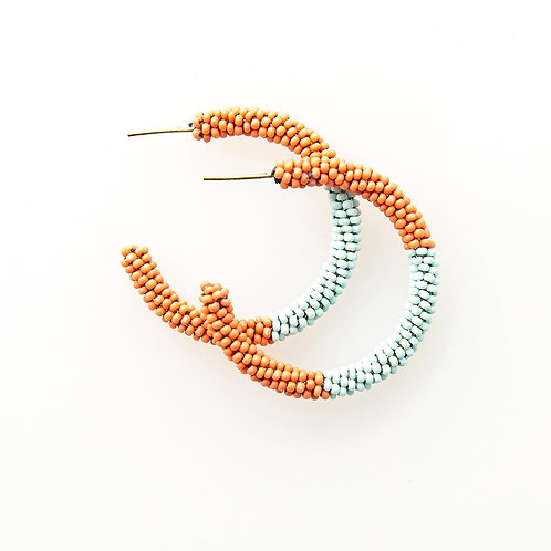 Ink and Alloy Seed Bead Hoops