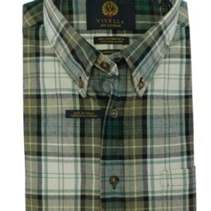 Viyella Cotton/Merino Wool Sportshirt-Campbell Dress Ancient
