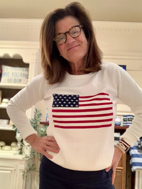 American Flag Sweater in Ivory