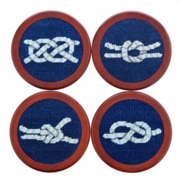 Smathers & Branson Nautical Knots Needlepoint Coaster Set