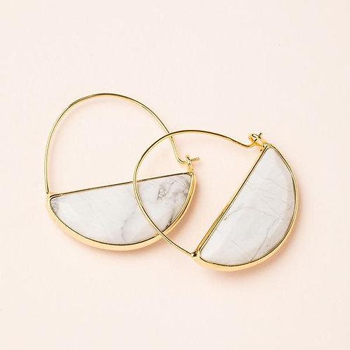 Stone Prism Hoop - Howlite/Gold