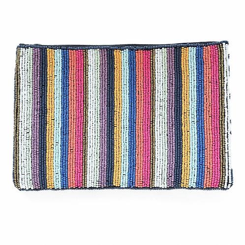 Multi Mini Stripe Beaded Clutch