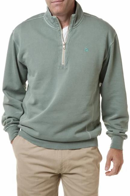 Castaway  Breakwater 1/4 Zip Sweatshirt-Sage