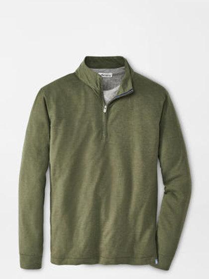 Peter Millar Slub Cotton Blend 1/4 Zip in Forest Green