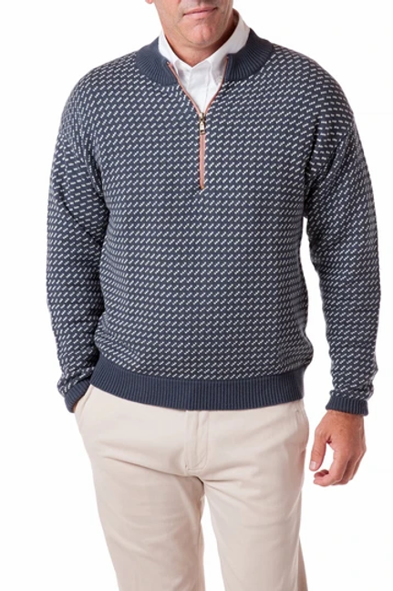 Castaway Quarter Zip Sweater in Birdseye- Navy