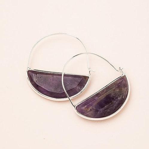 Stone Prism Hoop - Amethyst/Silver