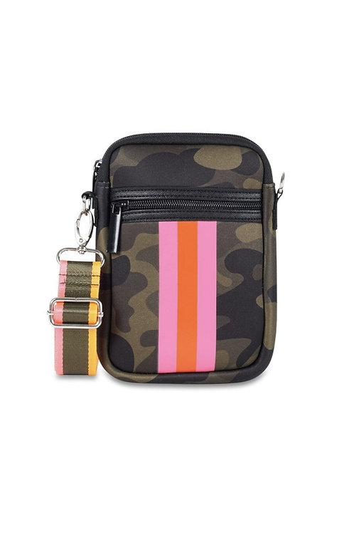 Camo Cell Phone Bag with Pink/Orange Stripe