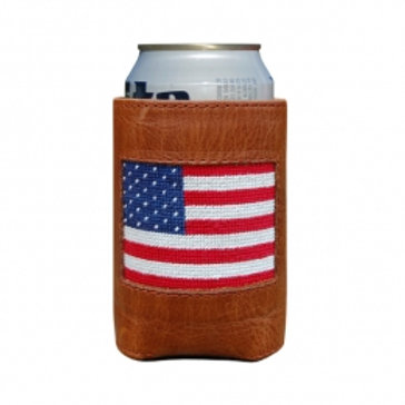 Smathers & Branson Needlepoint American Flag Can Cooler
