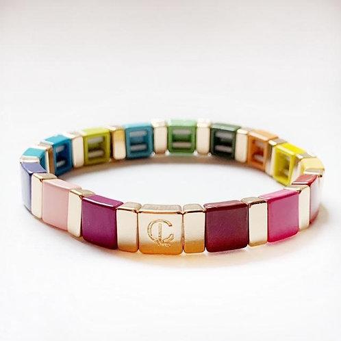 Tile Bracelet-  Rainbow
