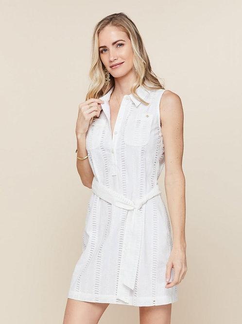 White Eliza Eyelet Shirt Dress