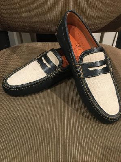Martin Dingman Tumbled Glove Leather Penny Loafer-Navy