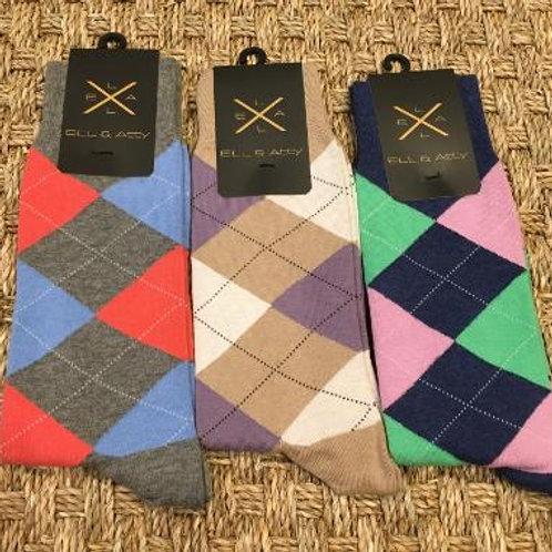 ELL & ATTY Mens Spring Argyle Socks