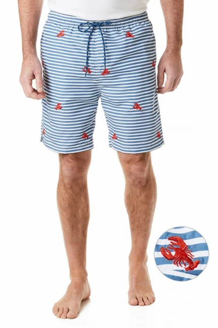 Castaway Sandbar Swim Suit-Storm Stripe/Red Lobster