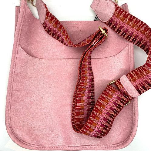 Pink Suede Messenger Bag