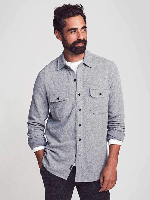 Faherty Legend Sweater Shirt-Light Gray