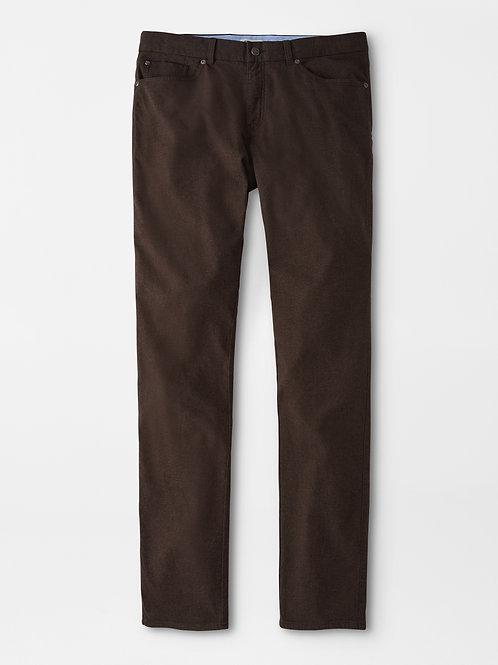 "Peter Millar Flannel Five Pocket Pant- Color ""Carob Brown"""