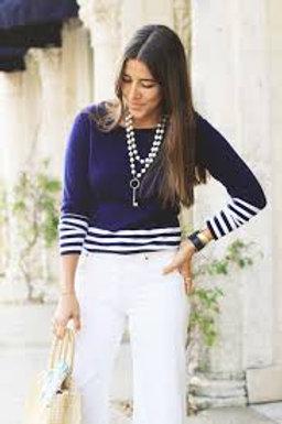 Navy Striped Burgess Sweater