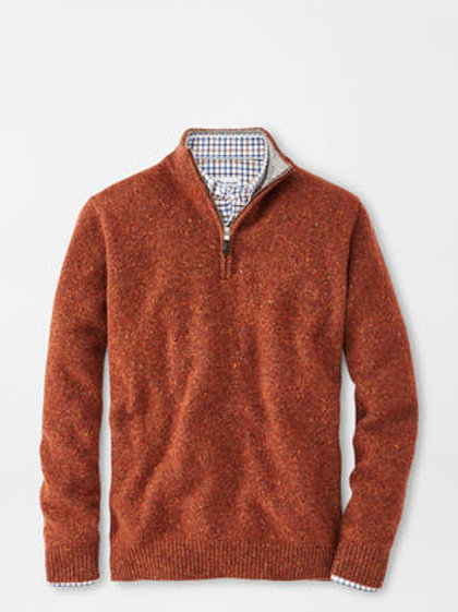 "Peter Millar Donegal Quarter Zip- Color ""Burnt Orange"""