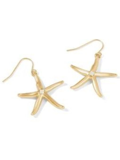 Sea Star Earrings Gold with White Opal