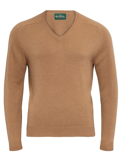 Alan Paine Rainham Camelhair V-Neck Sweater