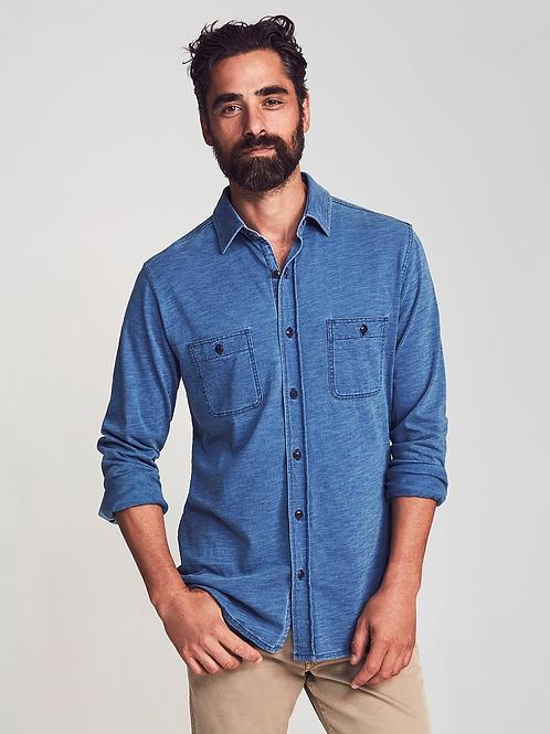 Faherty Brand Knit Seasons Long Sleeve Shirt-Indigo Blue