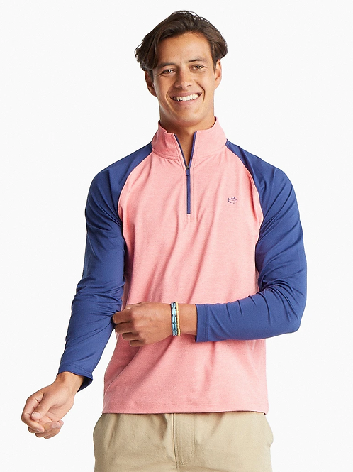 Southern Tide Windjammer Performance 1/4 Zip in Sunkist Coral