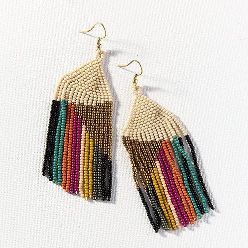 Gold Ivory Muted Stripe Earrings