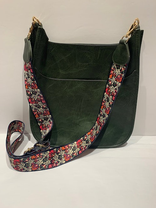 Vegan Leather Messenger Bag Forest Green