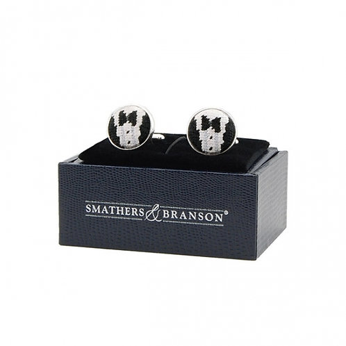 "Smathers And Branson ""Black Tie Affair Needlepoint Cufflinks"