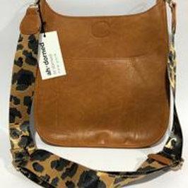Vegan Leather Messenger Bag Camel
