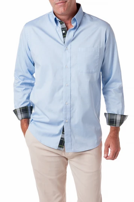 Castaway Chase Shirt Blue Oxford with Dress Gordon Trim