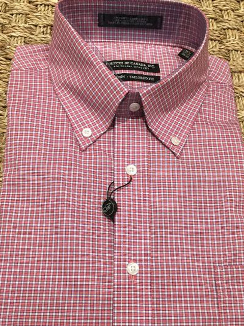 Forsyth of Canada Mens Wrinkle Free Dress Shirt-Cranberry Check