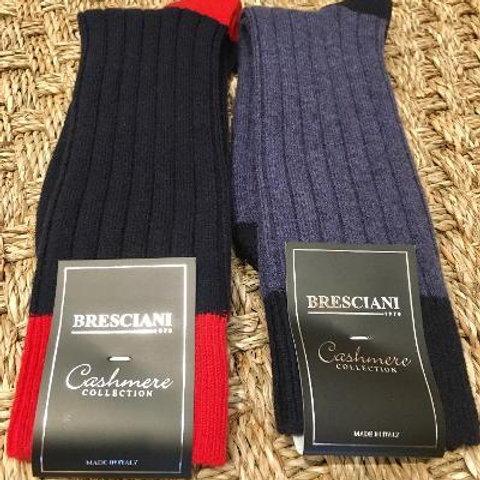 Bresciani Mens Tipped Cashmere Blend Mid Calf Socks