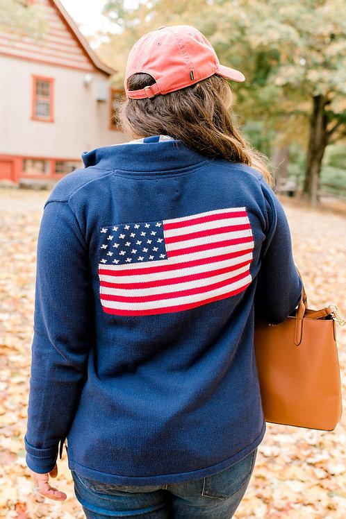 Full Zip Navy American Flag Sweater