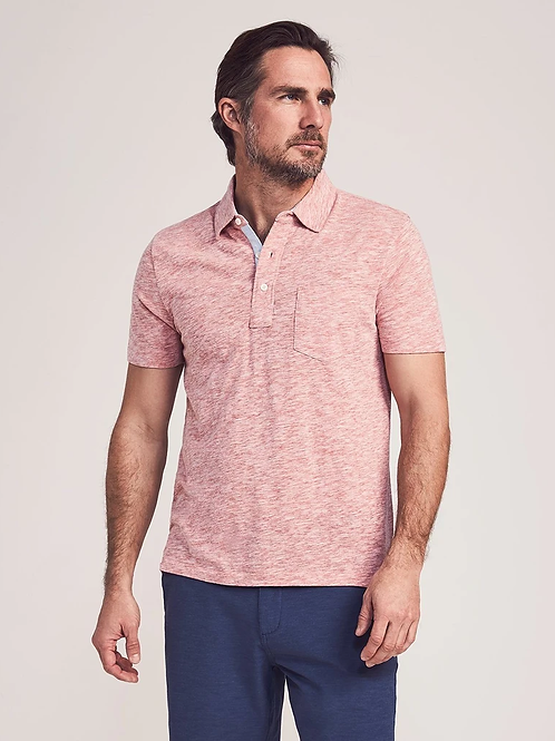Faherty Brand Heathered Polo Shirt in Venice Red