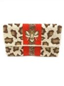 BEE Stripes Leopard Beaded Clutch Crossbody